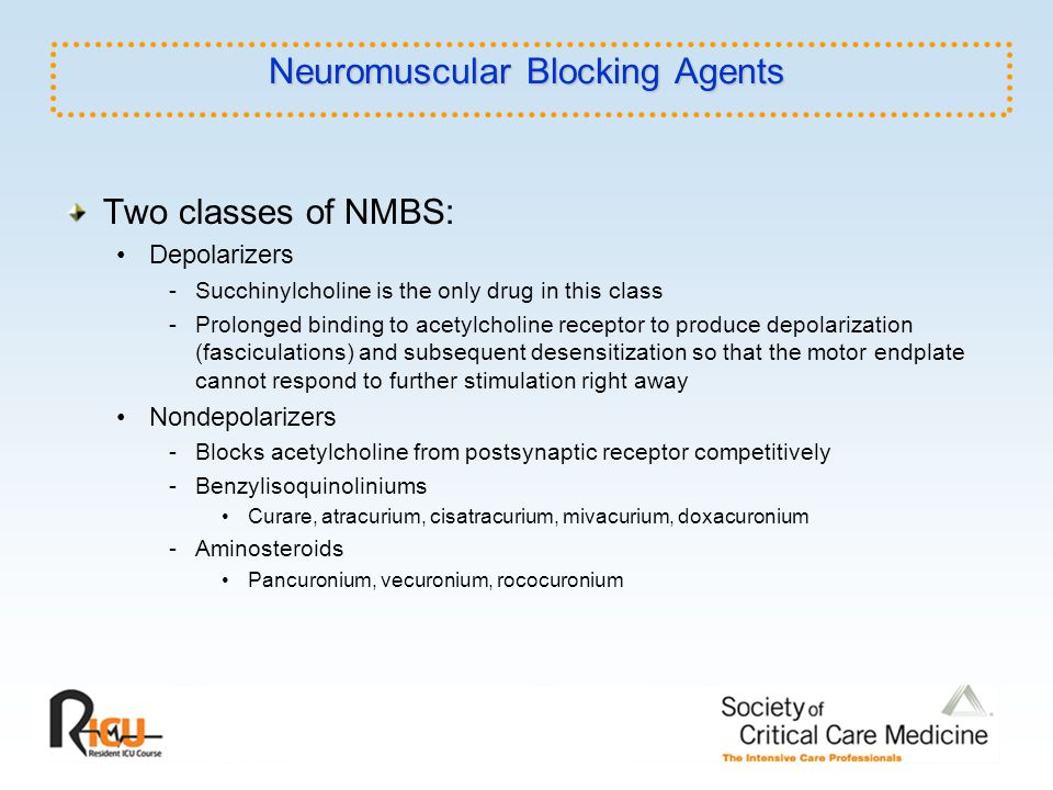 Neuromuscular Blocking Agents Two classes of NMBS: Depolarizers -Succhinylcholine is the only drug in this class -Prolonged binding to acetylcholine r