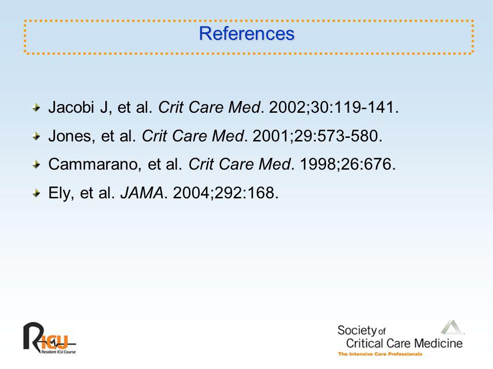 References Jacobi J, et al. Crit Care Med. 2002;30:119-141. Jones, et al. Crit Care Med. 2001;29:573-580. Cammarano, et al. Crit Care Med. 1998;26:676