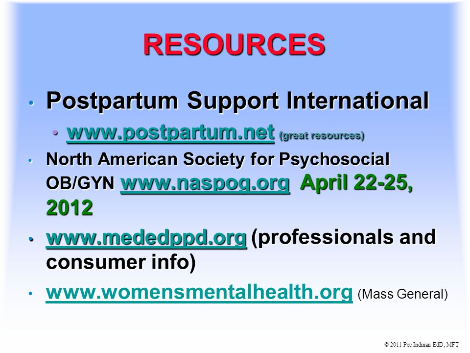 © 2011 Pec Indman EdD, MFT TREATMENT GUIDELINES Always r/o bipolar spectrum before starting SSRI's.
