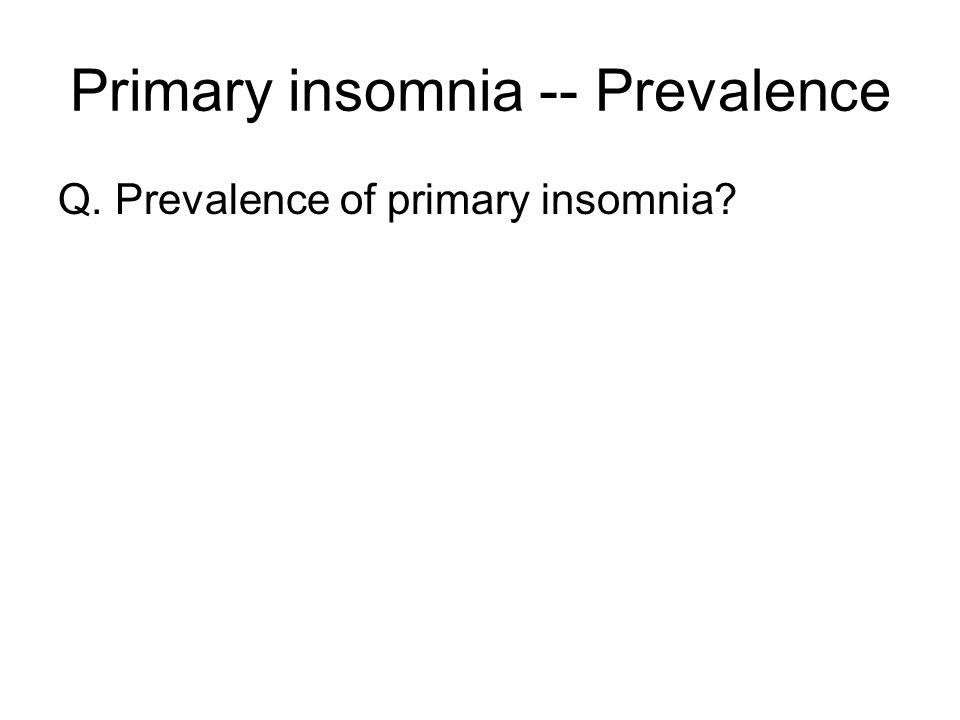 Primary insomnia -- Prevalence Q. Prevalence of primary insomnia?