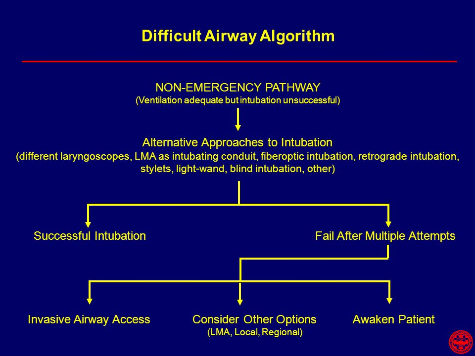 Difficult Airway Algorithm NON-EMERGENCY PATHWAY (Ventilation adequate but intubation unsuccessful) Alternative Approaches to Intubation (different laryngoscopes, LMA as intubating conduit, fiberoptic intubation, retrograde intubation, stylets, light-wand, blind intubation, other) Successful IntubationFail After Multiple Attempts Invasive Airway AccessConsider Other Options (LMA, Local, Regional) Awaken Patient