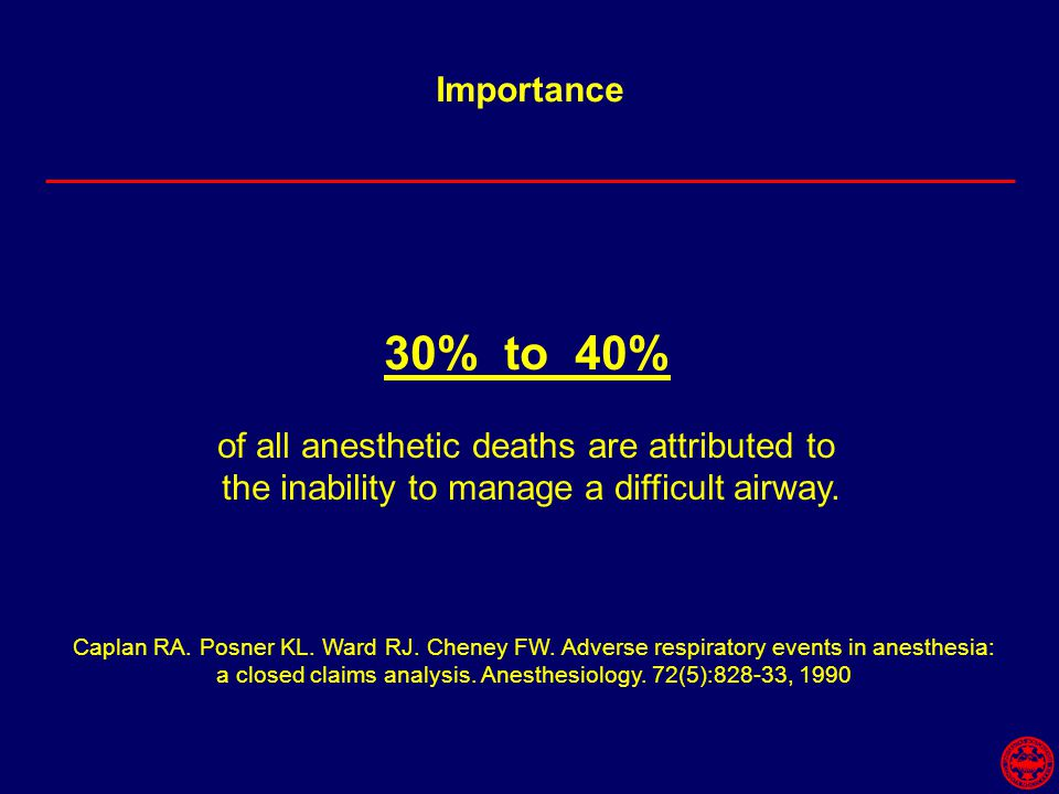 Importance Caplan RA. Posner KL. Ward RJ. Cheney FW. Adverse respiratory events in anesthesia: a closed claims analysis. Anesthesiology. 72(5):828-33,