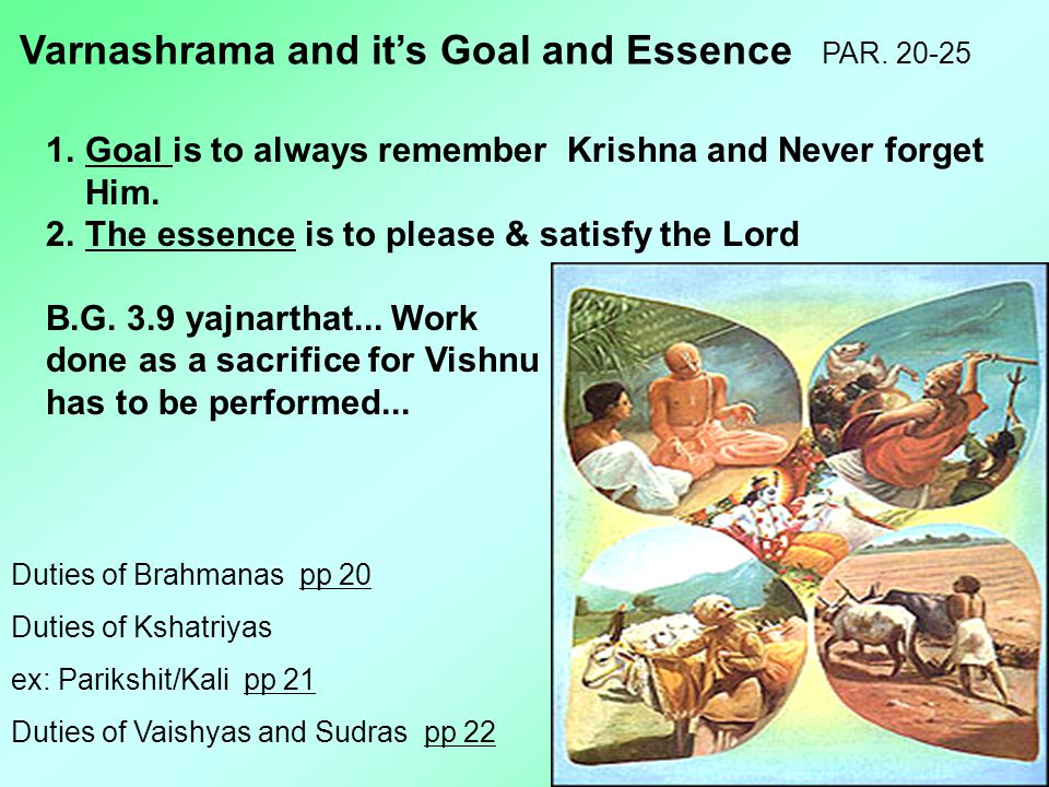 Varnashrama and it's Goal and Essence PAR. 20-25 1.Goal is to always remember Krishna and Never forget Him. 2.The essence is to please & satisfy the L