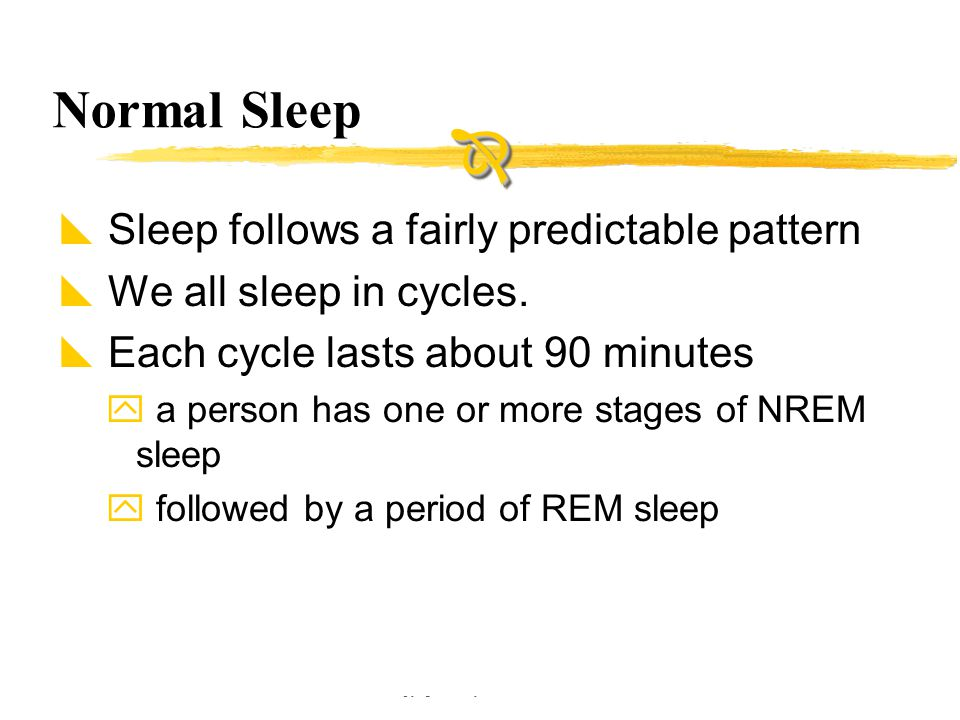 Copyright © Allyn & Bacon 2002 Normal Sleep  Sleep follows a fairly predictable pattern  We all sleep in cycles.  Each cycle lasts about 90 minutes