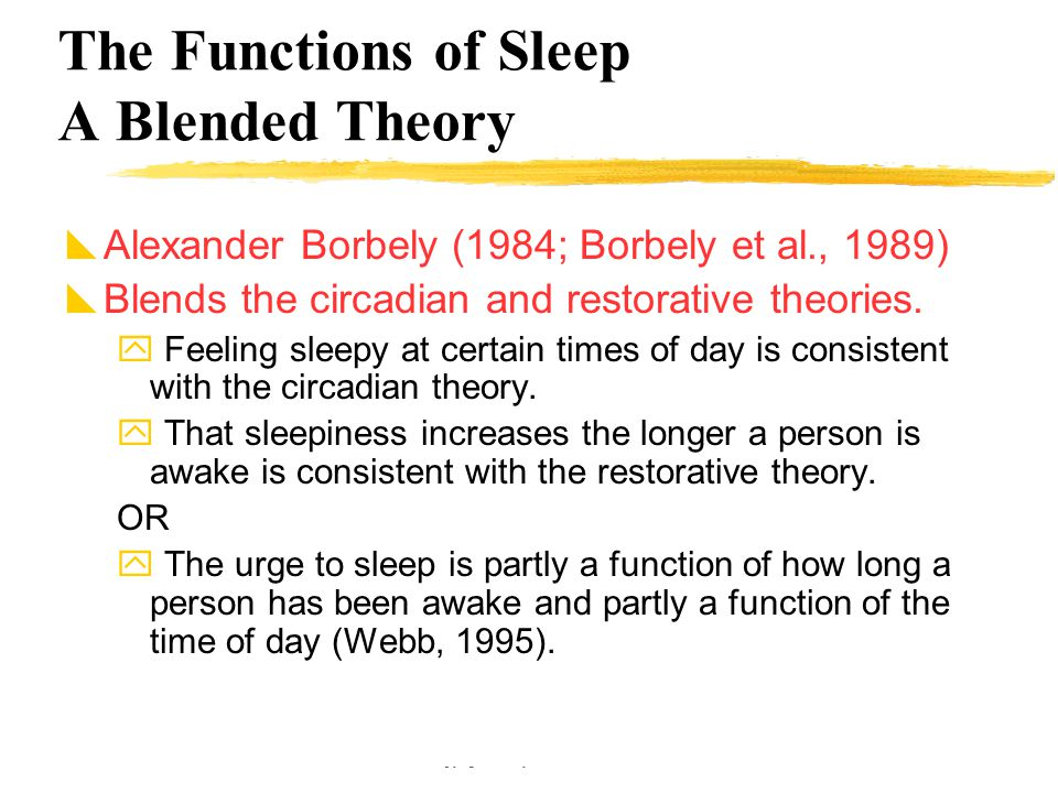 Copyright © Allyn & Bacon 2002 The Functions of Sleep A Blended Theory  Alexander Borbely (1984; Borbely et al., 1989)  Blends the circadian and res
