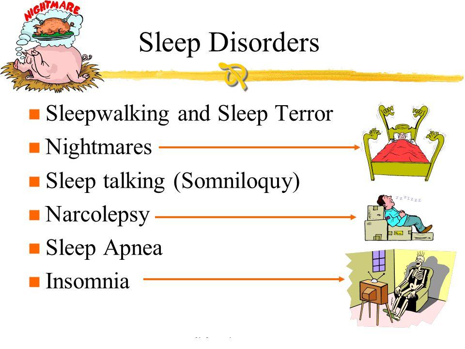Copyright © Allyn & Bacon 2002 Sleep Disorders n Sleepwalking and Sleep Terror n Nightmares n Sleep talking (Somniloquy) n Narcolepsy n Sleep Apnea n Insomnia 