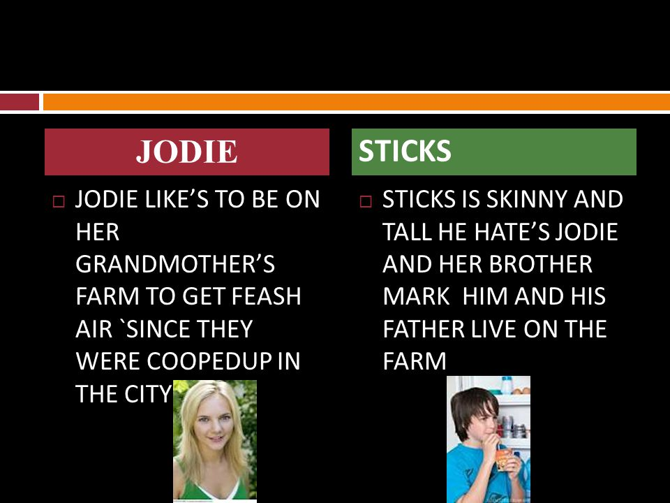  JODIE LIKE'S TO BE ON HER GRANDMOTHER'S FARM TO GET FEASH AIR `SINCE THEY WERE COOPEDUP IN THE CITY  STICKS IS SKINNY AND TALL HE HATE'S JODIE AND HER BROTHER MARK HIM AND HIS FATHER LIVE ON THE FARM JODIE STICKS
