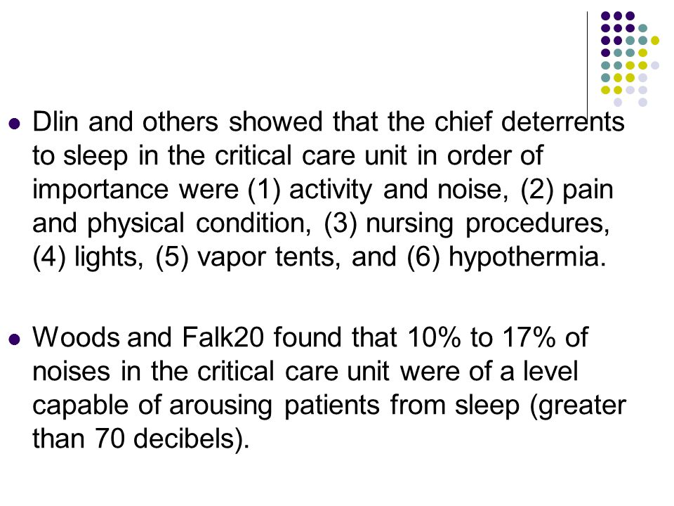 Dlin and others showed that the chief deterrents to sleep in the critical care unit in order of importance were (1) activity and noise, (2) pain and p