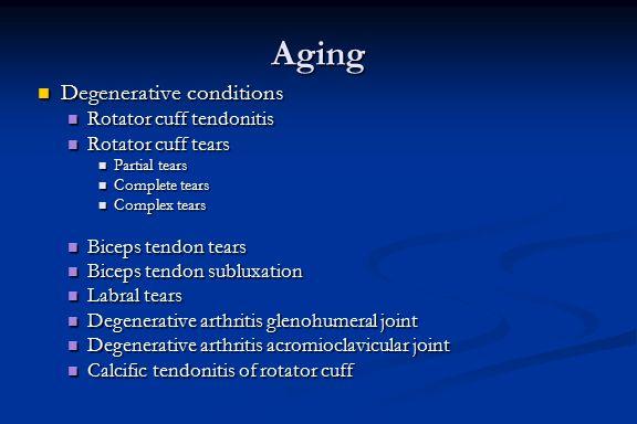 Aging Degenerative conditions Degenerative conditions Rotator cuff tendonitis Rotator cuff tendonitis Rotator cuff tears Rotator cuff tears Partial te