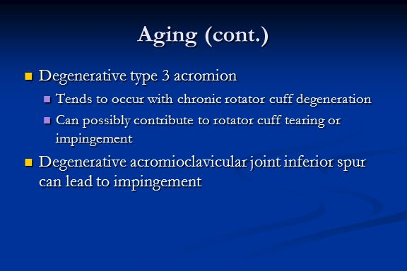 Aging (cont.) Degenerative type 3 acromion Degenerative type 3 acromion Tends to occur with chronic rotator cuff degeneration Tends to occur with chro