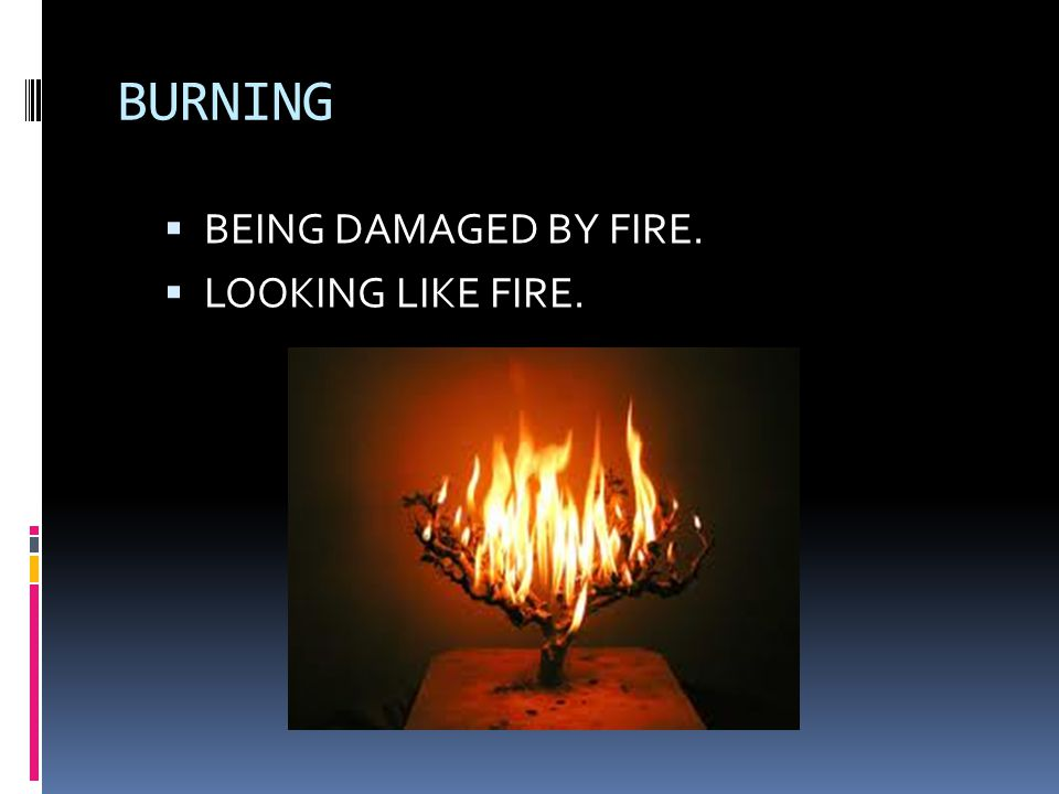 BURNING  BEING DAMAGED BY FIRE.  LOOKING LIKE FIRE.