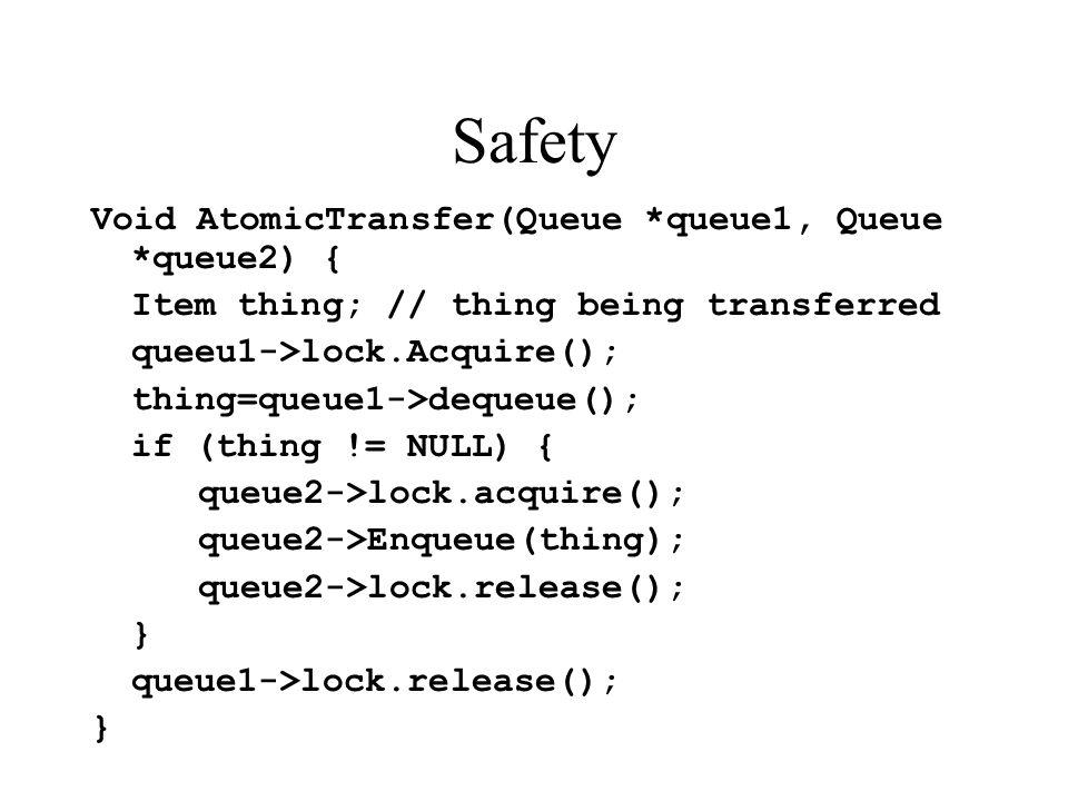 Safety Void AtomicTransfer(Queue *queue1, Queue *queue2) { Item thing; // thing being transferred queeu1->lock.Acquire(); thing=queue1->dequeue(); if (thing != NULL) { queue2->lock.acquire(); queue2->Enqueue(thing); queue2->lock.release(); } queue1->lock.release(); }