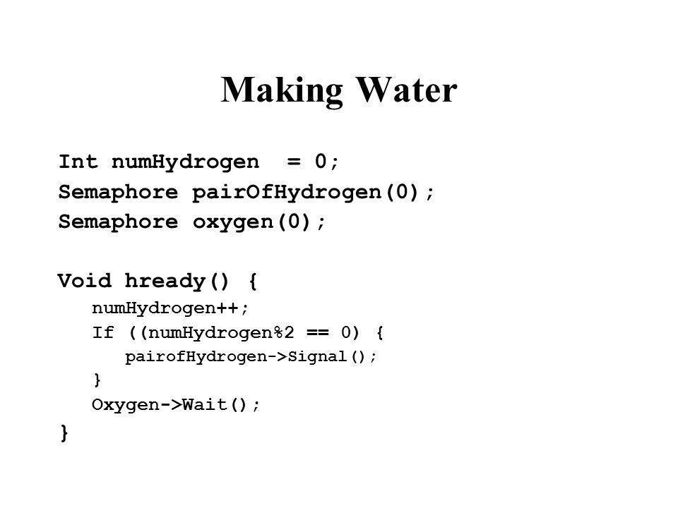 Making Water Int numHydrogen = 0; Semaphore pairOfHydrogen(0); Semaphore oxygen(0); Void hready() { numHydrogen++; If ((numHydrogen%2 == 0) { pairofHy