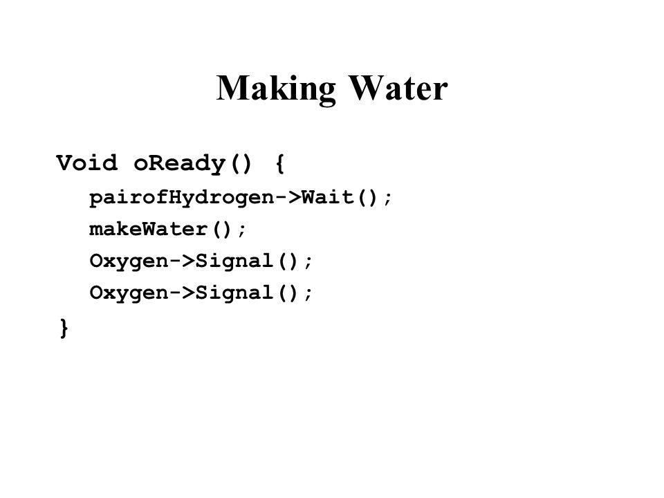 Making Water Void oReady() { pairofHydrogen->Wait(); makeWater(); Oxygen->Signal(); }