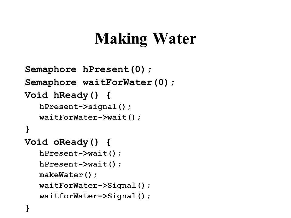 Making Water Semaphore hPresent(0); Semaphore waitForWater(0); Void hReady() { hPresent->signal(); waitForWater->wait(); } Void oReady() { hPresent->wait(); makeWater(); waitForWater->Signal(); waitforWater->Signal(); }