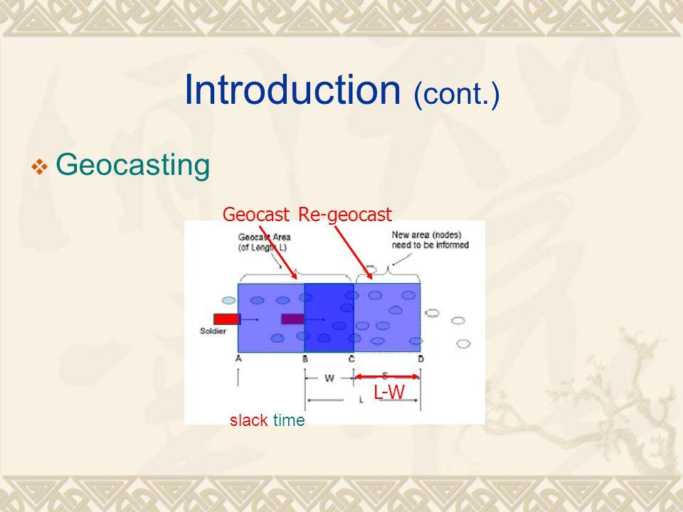 Introduction (cont.)  Geocasting GeocastRe-geocast L-W slack time