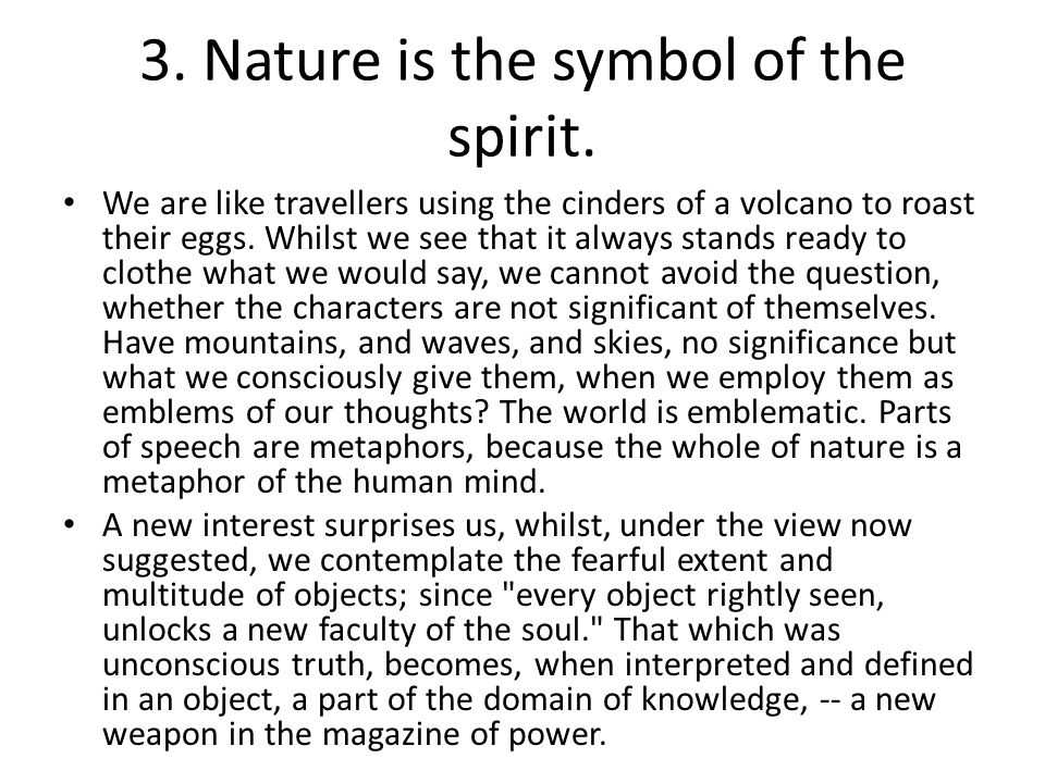 3. Nature is the symbol of the spirit.