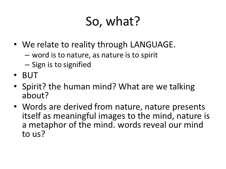 So, what. We relate to reality through LANGUAGE.