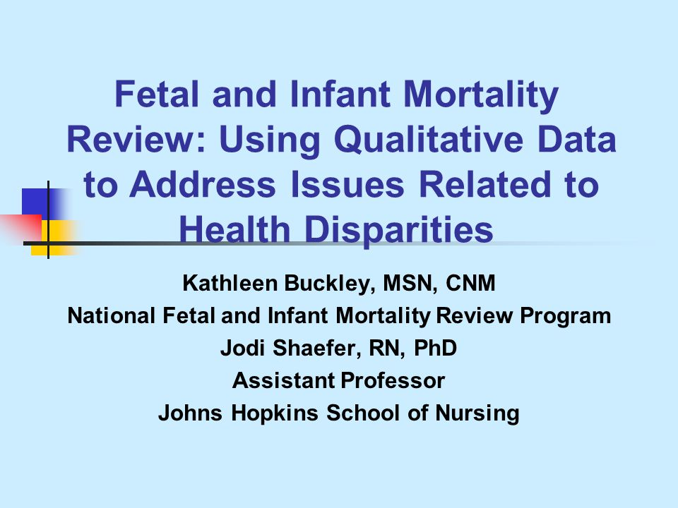 National Fetal and Infant Mortality Review Resource Center Since 1990, NFIMR has been a resource center working with states and communities to develop fetal and infant mortality review programs.
