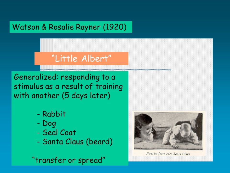 Watson & Rosalie Rayner (1920) Generalized: responding to a stimulus as a result of training with another (5 days later) - Rabbit - Dog - Seal Coat - Santa Claus (beard) transfer or spread Little Albert