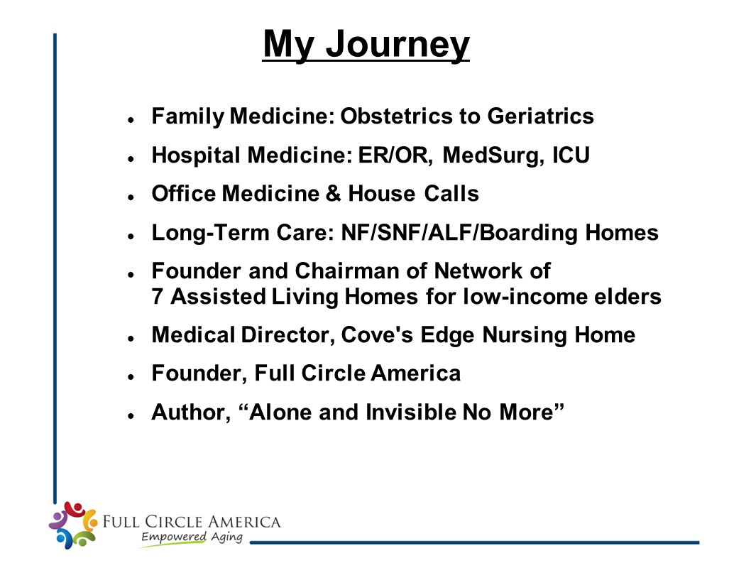 Family Medicine: Obstetrics to Geriatrics Hospital Medicine: ER/OR, MedSurg, ICU Office Medicine & House Calls Long-Term Care: NF/SNF/ALF/Boarding Hom