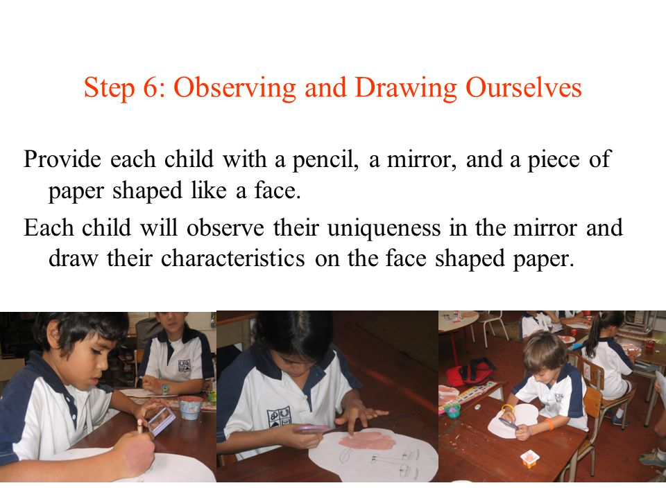Step 6: Observing and Drawing Ourselves Provide each child with a pencil, a mirror, and a piece of paper shaped like a face. Each child will observe t