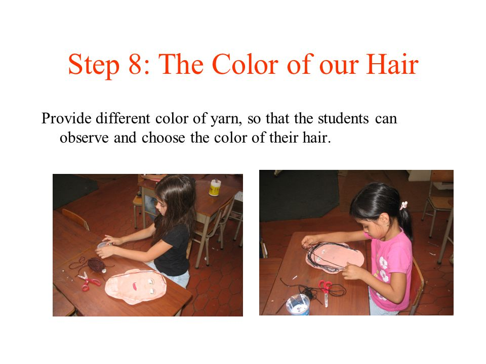 Step 8: The Color of our Hair Provide different color of yarn, so that the students can observe and choose the color of their hair.