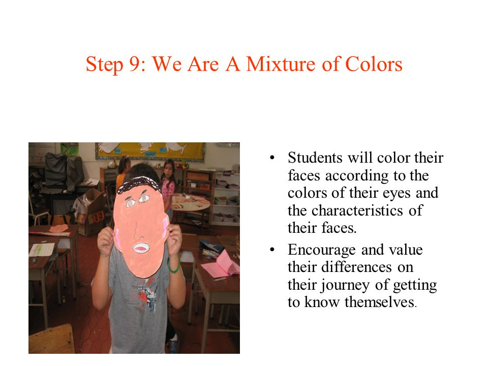 Step 9: We Are A Mixture of Colors Students will color their faces according to the colors of their eyes and the characteristics of their faces. Encou