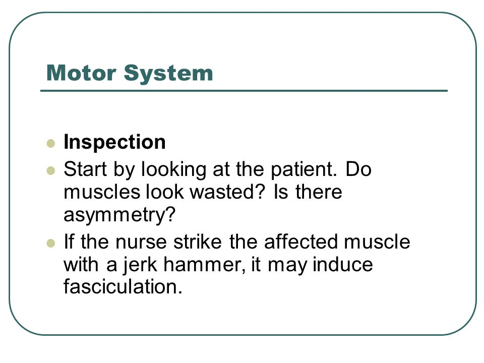 Motor System Inspection Start by looking at the patient. Do muscles look wasted? Is there asymmetry? If the nurse strike the affected muscle with a je