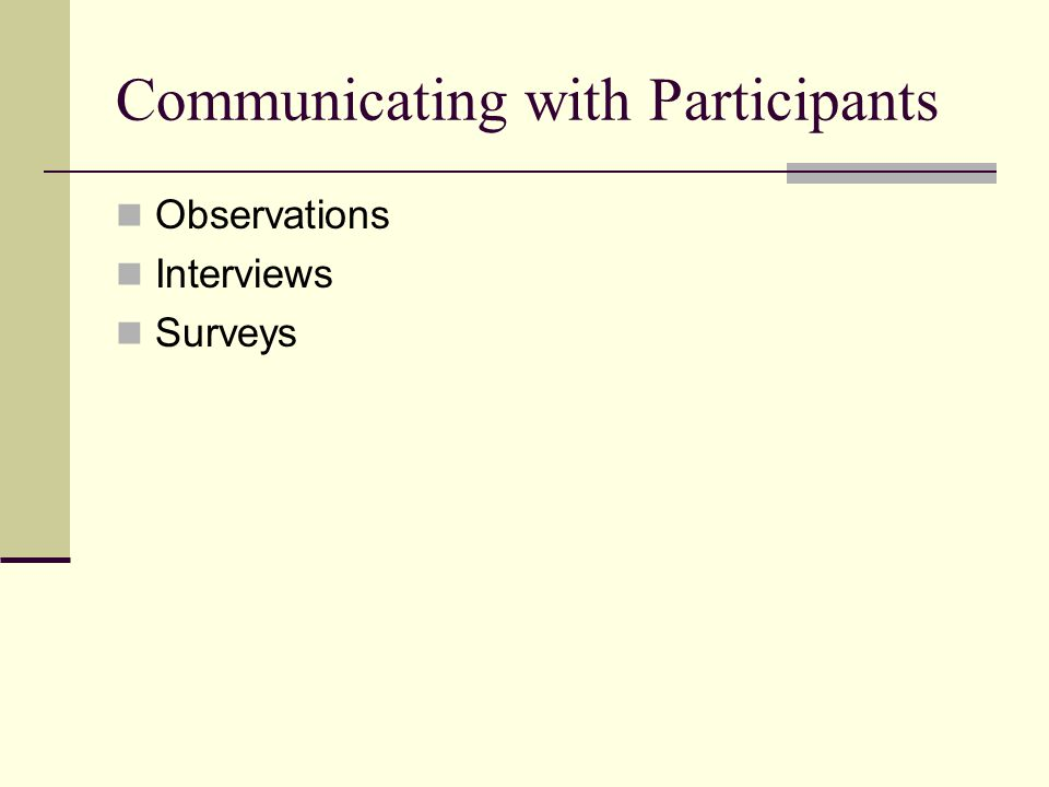 Communicating with Participants Observations Interviews Surveys