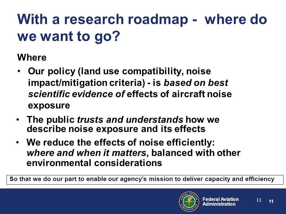 11 Federal Aviation Administration 11 With a research roadmap - where do we want to go.