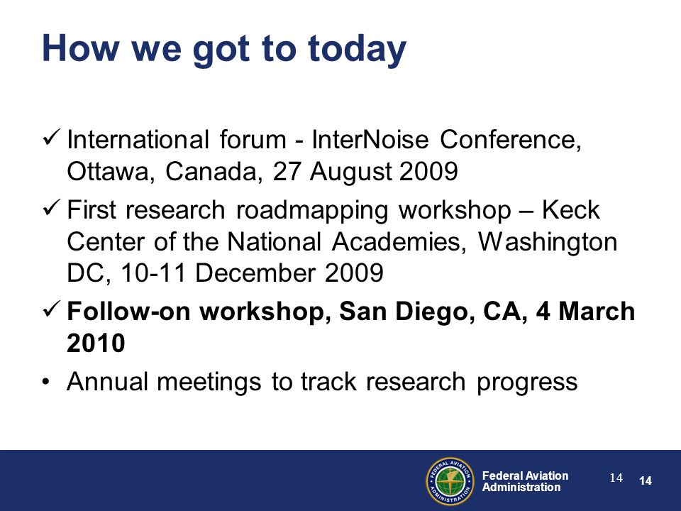 14 Federal Aviation Administration 14 How we got to today International forum - InterNoise Conference, Ottawa, Canada, 27 August 2009 First research roadmapping workshop – Keck Center of the National Academies, Washington DC, 10-11 December 2009 Follow-on workshop, San Diego, CA, 4 March 2010 Annual meetings to track research progress