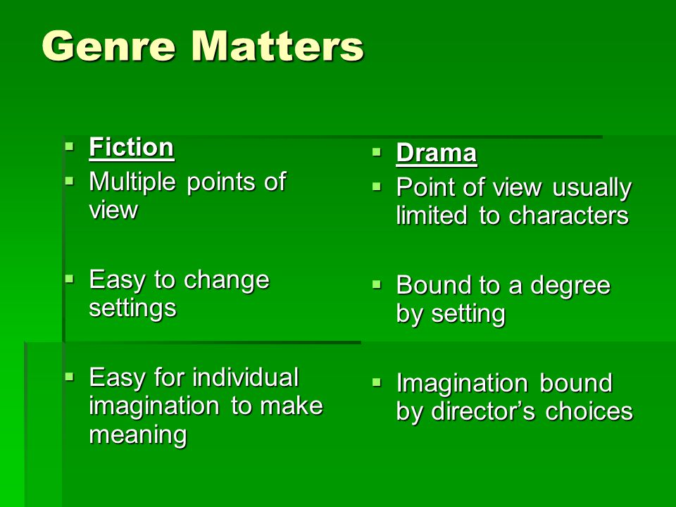 Genre Matters  Fiction  Multiple points of view  Easy to change settings  Easy for individual imagination to make meaning  Drama  Point of view usually limited to characters  Bound to a degree by setting  Imagination bound by director's choices