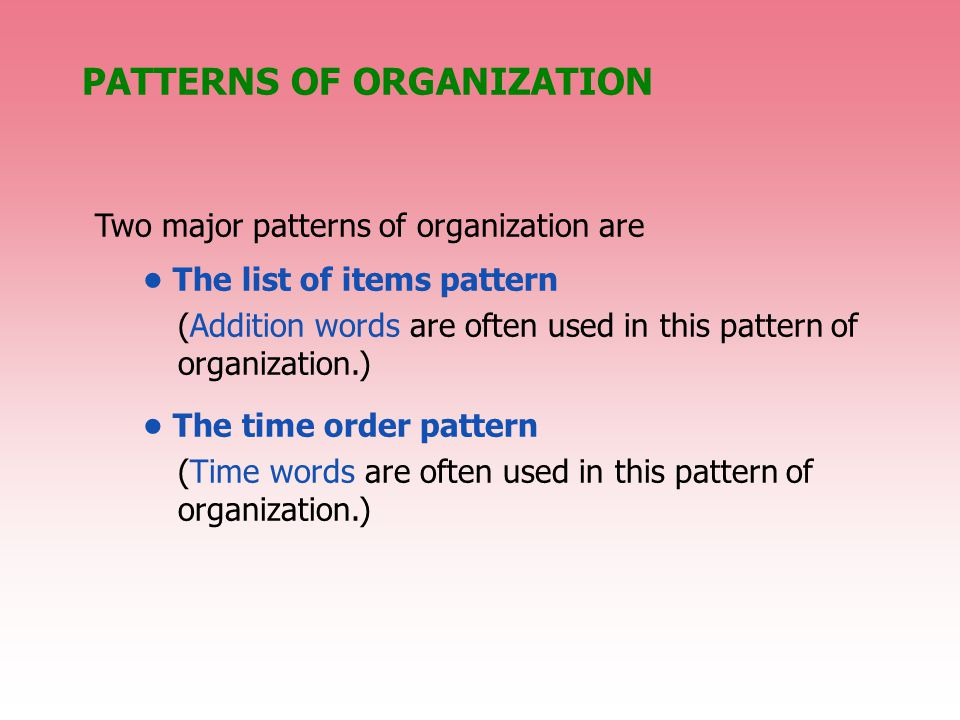 PATTERNS OF ORGANIZATION Two major patterns of organization are The list of items pattern (Addition words are often used in this pattern of organization.) The time order pattern (Time words are often used in this pattern of organization.)