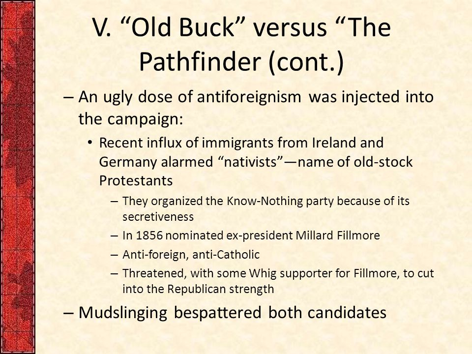 "V. ""Old Buck"" versus ""The Pathfinder (cont.) – An ugly dose of antiforeignism was injected into the campaign: Recent influx of immigrants from Ireland"