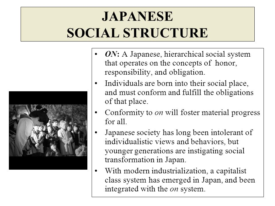 ON: A Japanese, hierarchical social system that operates on the concepts of honor, responsibility, and obligation. Individuals are born into their soc