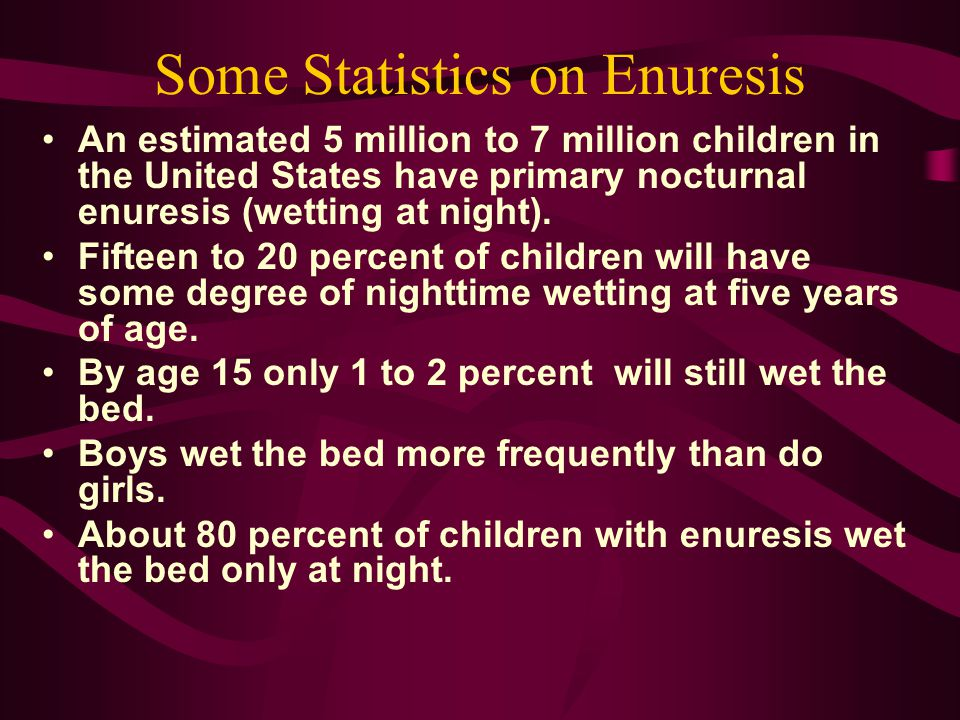 Some Statistics on Enuresis An estimated 5 million to 7 million children in the United States have primary nocturnal enuresis (wetting at night). Fift