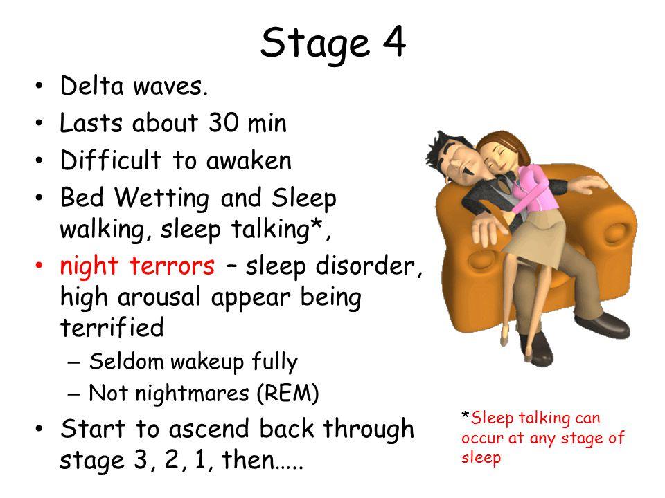 Stage 4 Delta waves. Lasts about 30 min Difficult to awaken Bed Wetting and Sleep walking, sleep talking*, night terrors – sleep disorder, high arousa