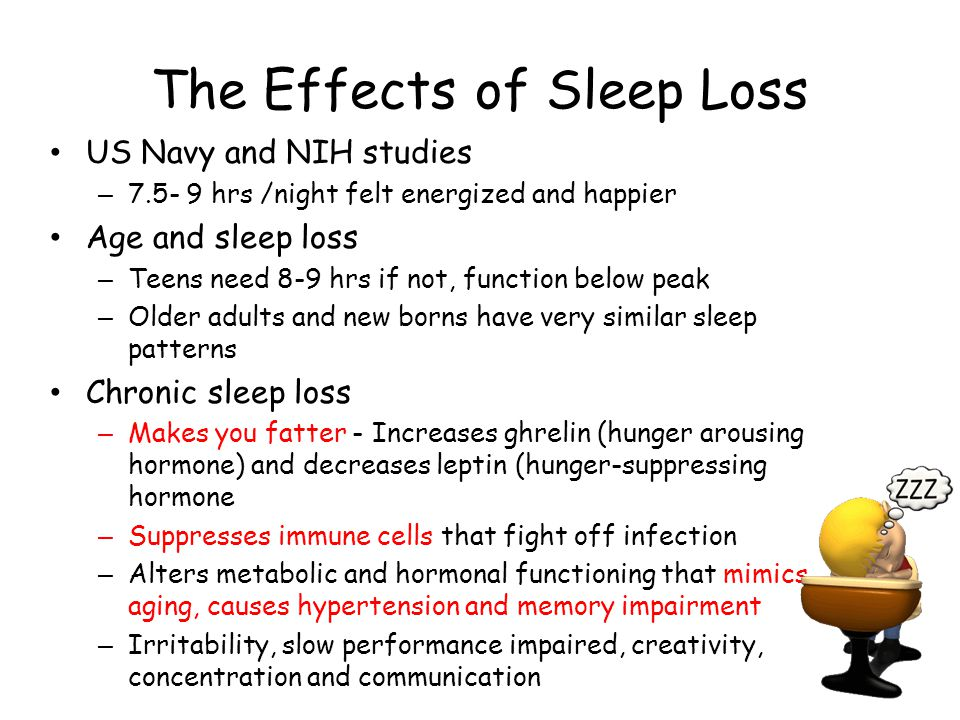 The Effects of Sleep Loss US Navy and NIH studies – 7.5- 9 hrs /night felt energized and happier Age and sleep loss – Teens need 8-9 hrs if not, funct