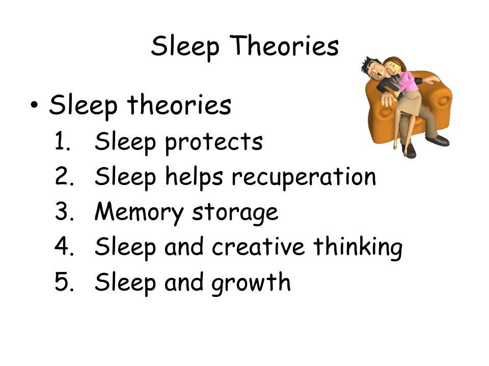 Sleep Theories Sleep theories 1.Sleep protects 2.Sleep helps recuperation 3.Memory storage 4.Sleep and creative thinking 5.Sleep and growth