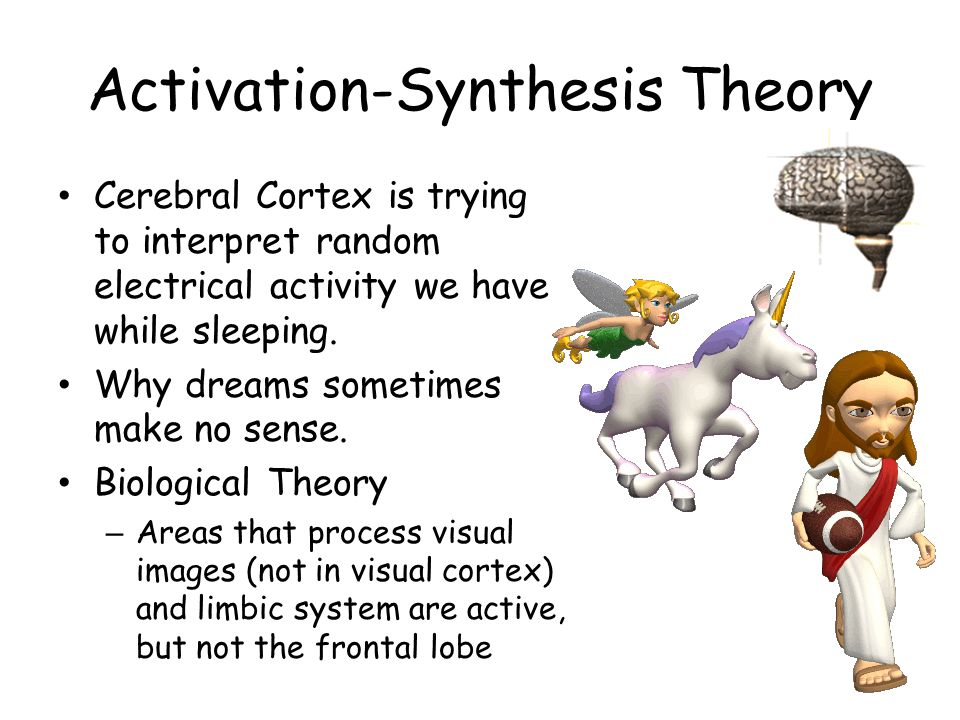 Activation-Synthesis Theory Cerebral Cortex is trying to interpret random electrical activity we have while sleeping. Why dreams sometimes make no sen