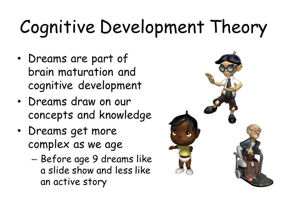 Cognitive Development Theory Dreams are part of brain maturation and cognitive development Dreams draw on our concepts and knowledge Dreams get more c