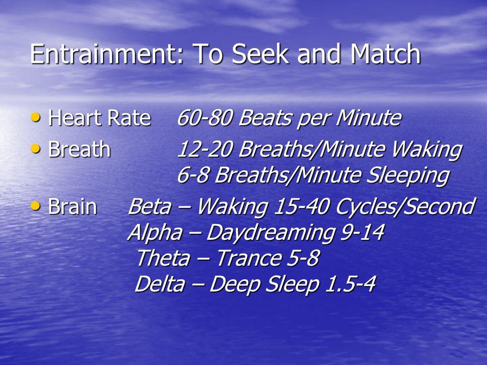 Entrainment: To Seek and Match Heart Rate 60-80 Beats per Minute Heart Rate 60-80 Beats per Minute Breath 12-20 Breaths/Minute Waking 6-8 Breaths/Minute Sleeping Breath 12-20 Breaths/Minute Waking 6-8 Breaths/Minute Sleeping BrainBeta – Waking 15-40 Cycles/Second Alpha – Daydreaming 9-14 Theta – Trance 5-8 Delta – Deep Sleep 1.5-4 BrainBeta – Waking 15-40 Cycles/Second Alpha – Daydreaming 9-14 Theta – Trance 5-8 Delta – Deep Sleep 1.5-4
