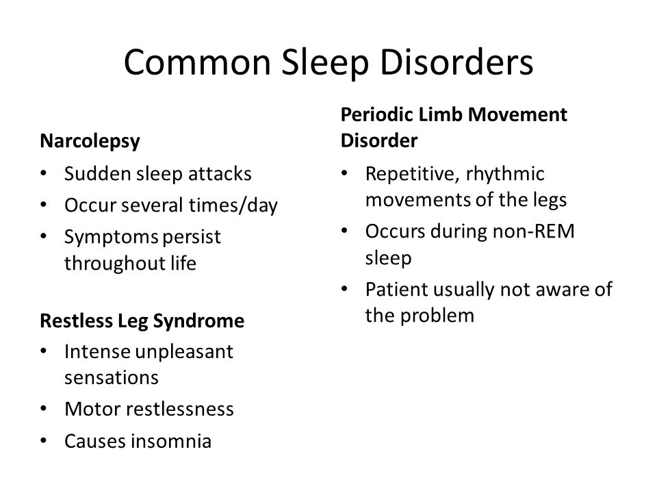 Common Sleep Disorders Narcolepsy Sudden sleep attacks Occur several times/day Symptoms persist throughout life Periodic Limb Movement Disorder Repetitive, rhythmic movements of the legs Occurs during non-REM sleep Patient usually not aware of the problem Restless Leg Syndrome Intense unpleasant sensations Motor restlessness Causes insomnia