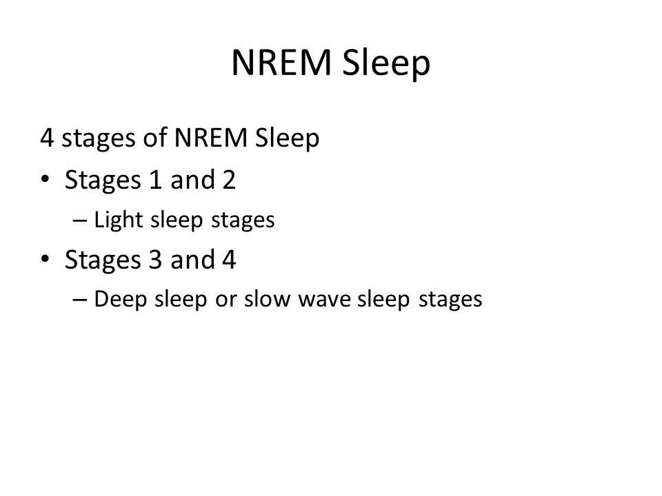 NREM Sleep 4 stages of NREM Sleep Stages 1 and 2 – Light sleep stages Stages 3 and 4 – Deep sleep or slow wave sleep stages