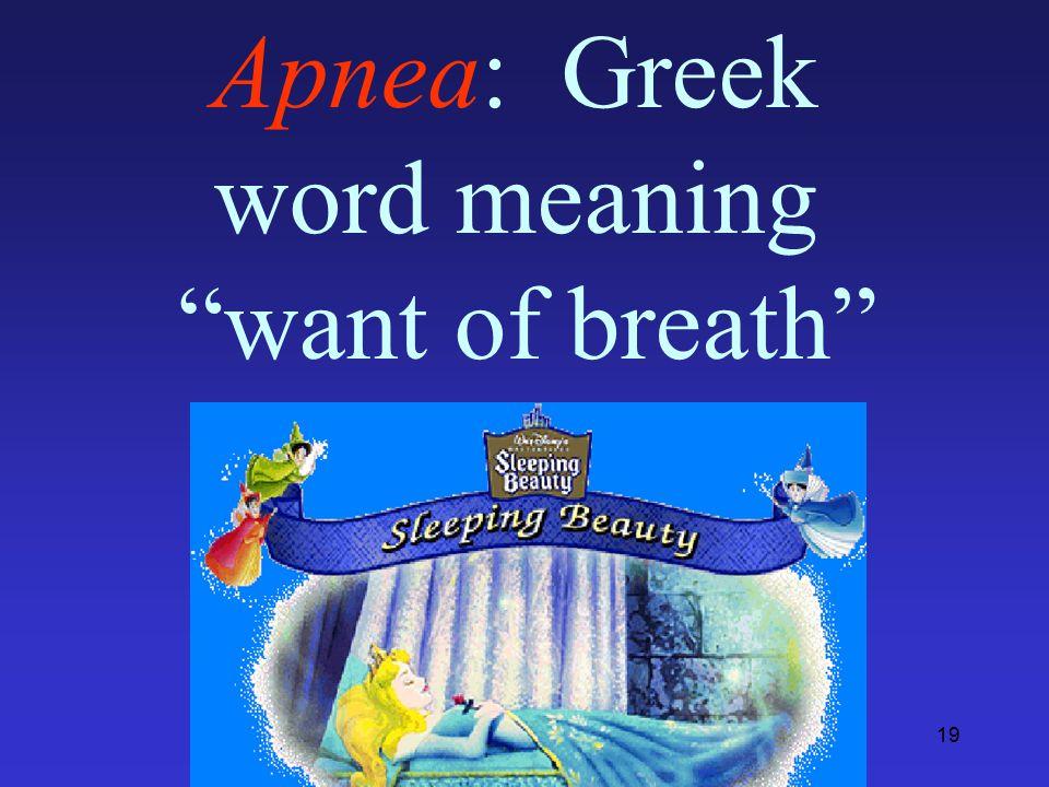 19 Apnea: Greek word meaning want of breath