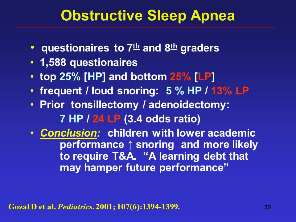 30 Obstructive Sleep Apnea questionaires to 7 th and 8 th graders 1,588 questionaires top 25% [HP] and bottom 25% [LP] frequent / loud snoring: 5 % HP