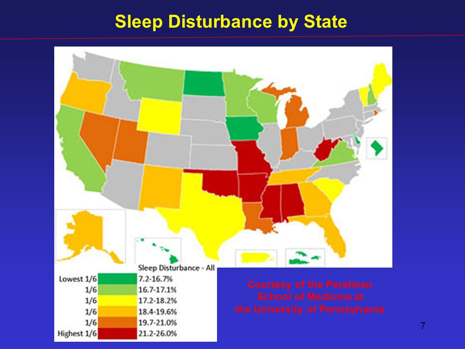 7 Courtesy of the Perelman School of Medicine at the University of Pennsylvania Sleep Disturbance by State