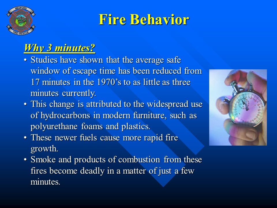 Fire Behavior Fire Behavior Why 3 minutes? Studies have shown that the average safe window of escape time has been reduced from 17 minutes in the 1970