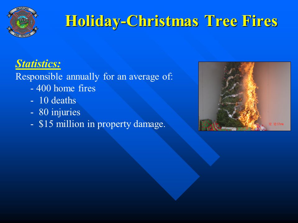Holiday-Christmas Tree Fires Statistics: Responsible annually for an average of: - 400 home fires - 10 deaths - 80 injuries - $15 million in property damage.